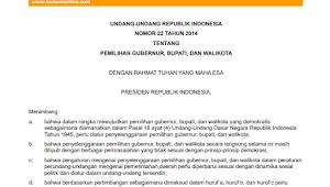 Undang-Undang nomor 22 Tahun 2014 Tentang Pemilihan Gubernur, Bupati Dan Walikota