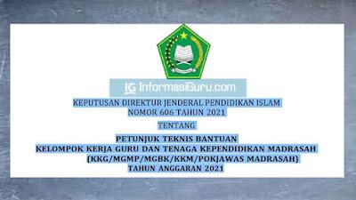 Download Kepdirjenpendis Nomor 606 Tahun 2021 Tentang Juknis Bantuan KKG dan Tendik Madrasah (KKG/MGMP/MGBK/KKM/POKJAWAS MADRASAH)  TA 2021 I PDF