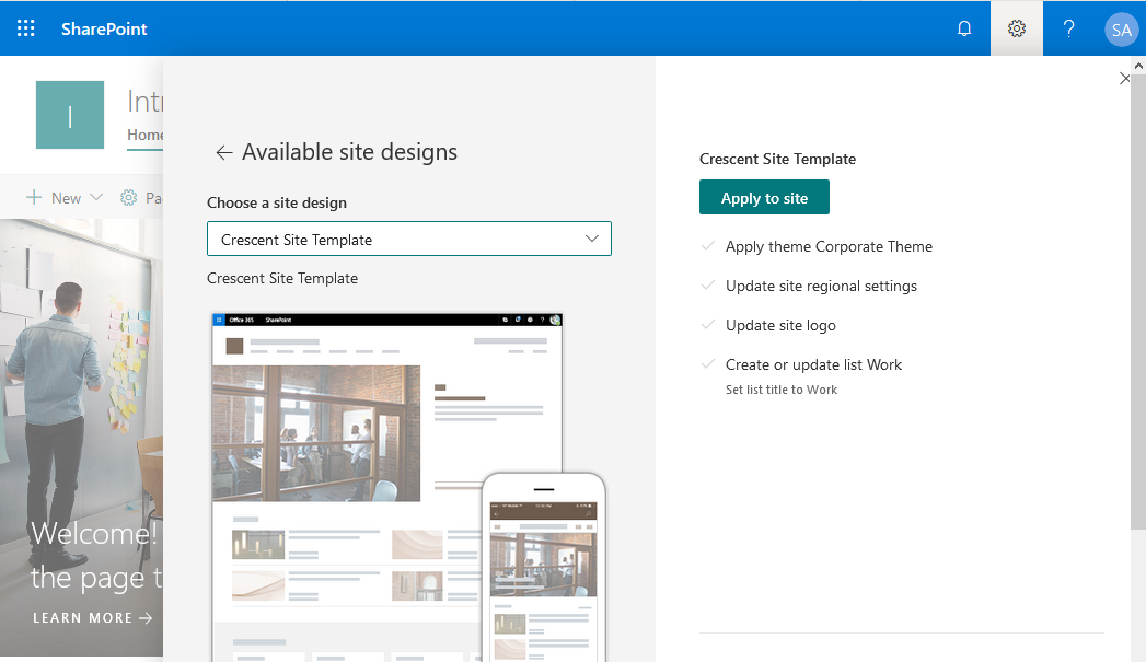 sharepoint online apply site design