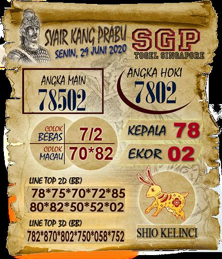 Prediksi Syair Kang Prabu SGP Senin 29 Juni 2020