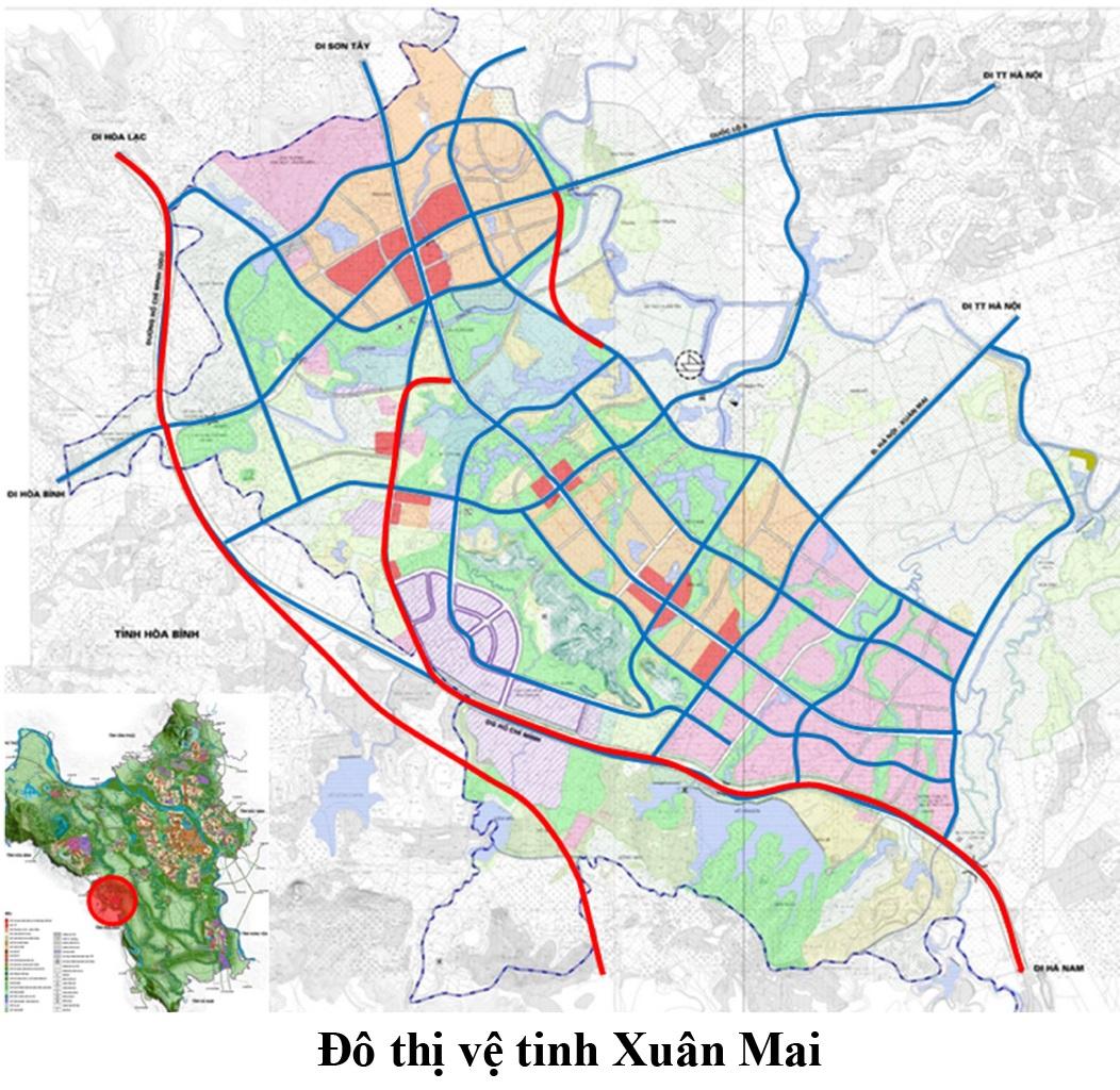 Bản đồ quy hoạch giao thông đô thị vệ tinh Xuân Mai - Hà Nội