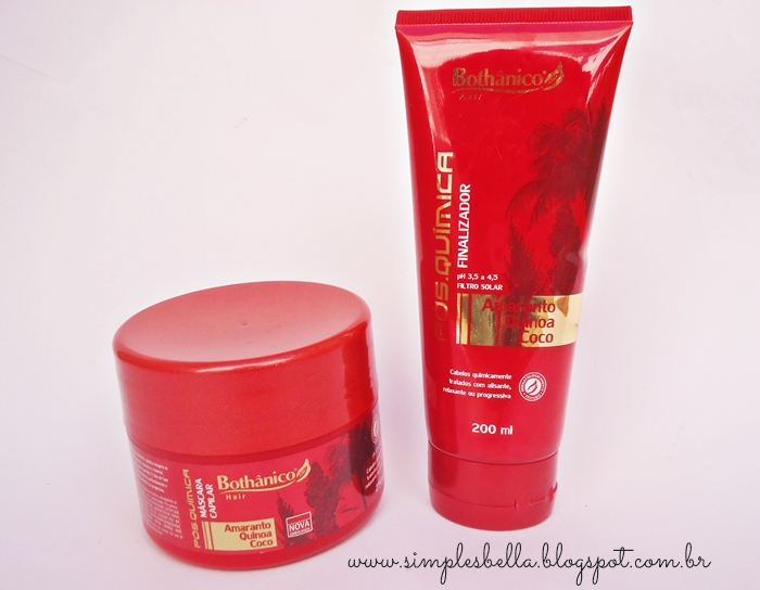Máscara capilar e finalizador Bothânico Hair Pós-química