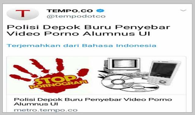 Polisi Buru Penyebar Vidio Porno Alumnus UI, Netizen: Penyebar Chat Palsu HRS Kok Gak Diburu