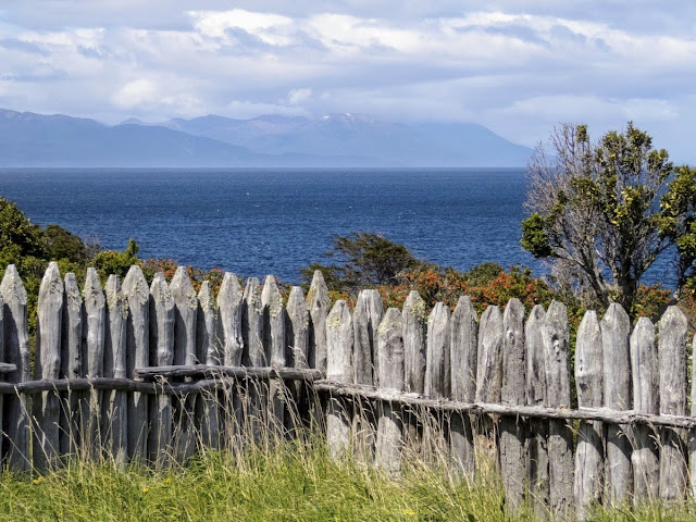 Patagonia Birding: Wooden fence and view of the Strait of Magellan at Fort Bulnes near Punta Arenas Chile