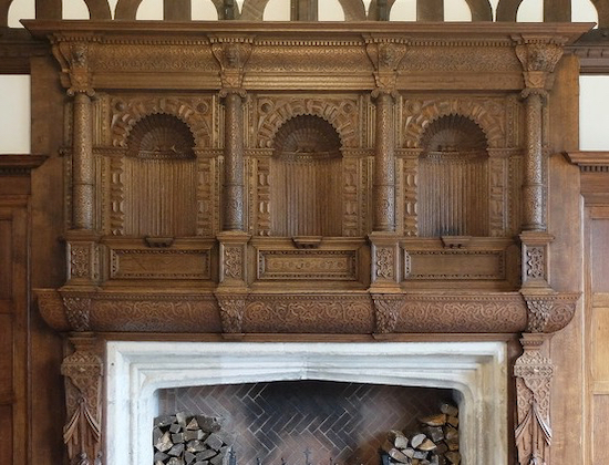 The 500-year-old oak mantelpiece in the great hall at Hillbark, Frankby, Wirral Image by Leon Berg reproduced with permission