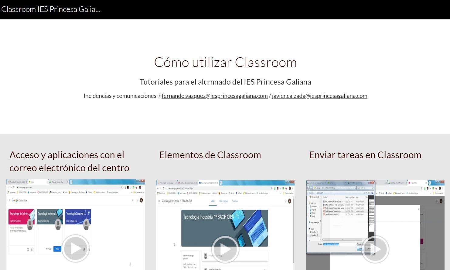 """Nueva web de ayuda """"Cómo utilizar Classroom"""" para el alumnado"""
