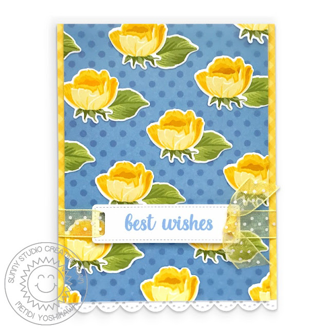 Sunny Studio Blog: Yellow & Blue Polka-dot Rosebud Best Wishes Card (using Potted Rose, Background Basics & Heartfelt Wishes Stamps, Fancy Frames Rectangle Dies & Classic Gingham Paper)