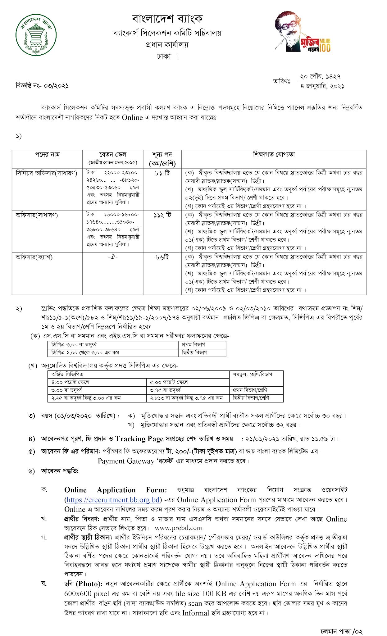 প্রবাসী কল্যাণ ব্যাংক (PKB) এ নিয়োগ বিজ্ঞপ্তি ২০২১
