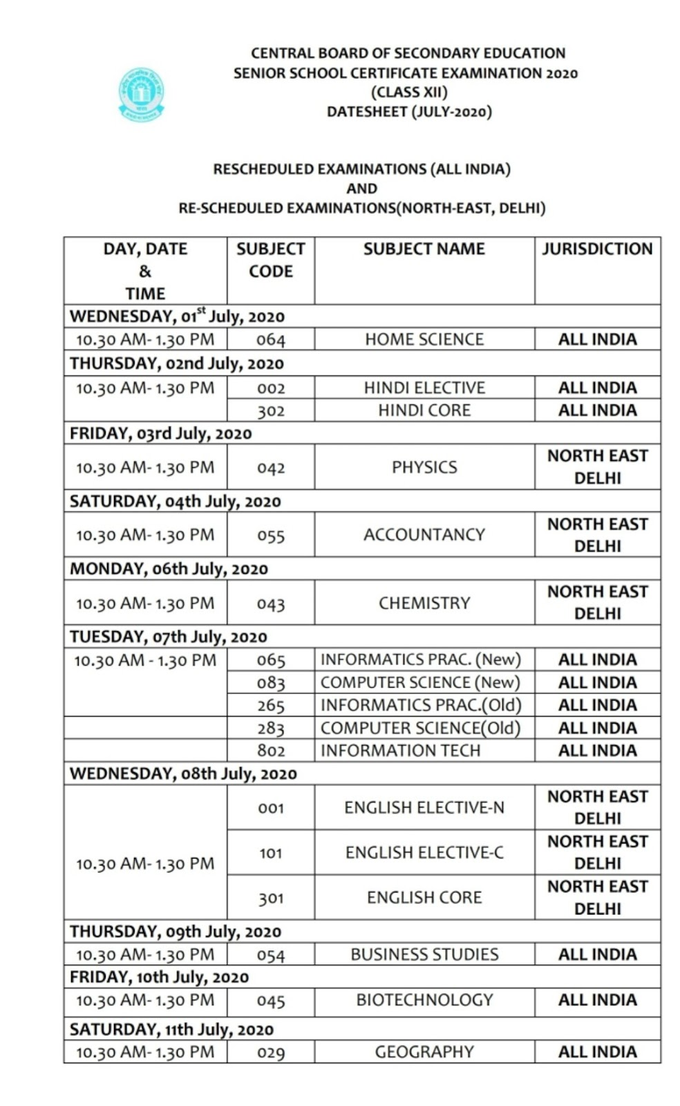 CBSE Board Class 10, 12 Exam Date Sheet 2020 Revised Schedule