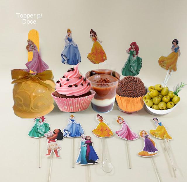 toppers de doces As Princesas  Disney dicas e ideias para decoração de festa personalizados
