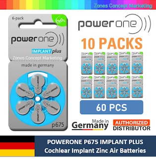 Powerone P675 IMPLANT PLUS Battery (Box of 60pcs)