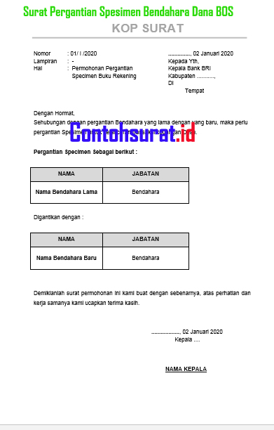 Surat Permohonan Pergantian Spesimen Bendahara BOS
