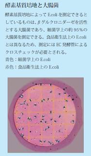 酵素基質培地はβグルクロニダーゼを活性とする大腸菌のみであり、食品衛生法上のE.coliとは異なります。