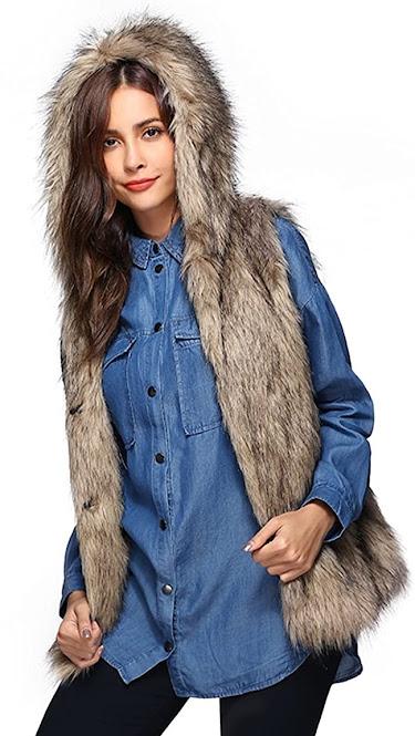 Quality Women's Faux Fur Vest With Hood