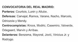 Los Convocados por Zidane para comenzar La Liga