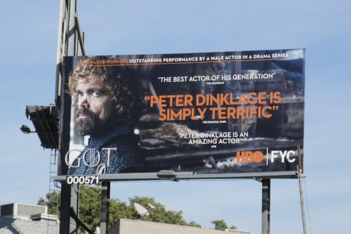 Peter Dinklage Game of Thrones SAG Award billboard