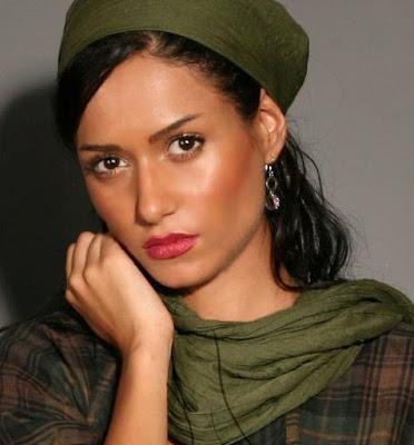 Iranian actress Parinaz Izadyar in green clothes