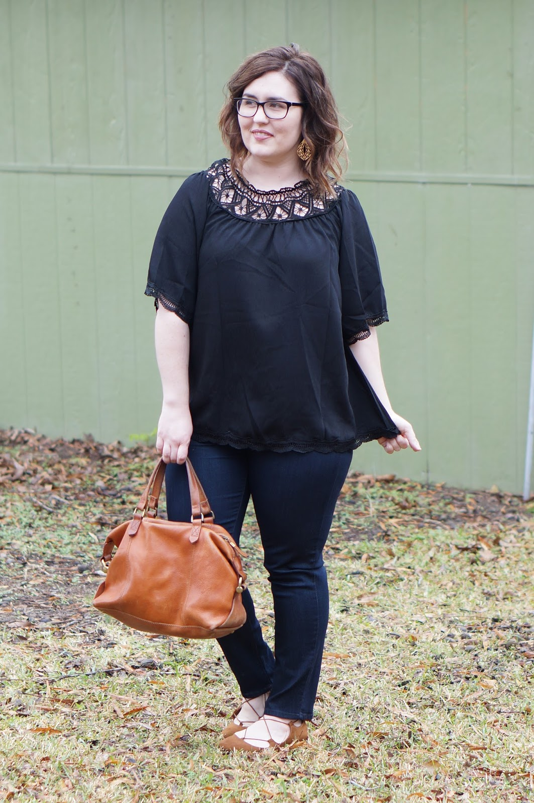 Rebecca Lately Zaful Off The Shoulder Black Top Just Black Ankle Jeans Stitch Fix Target Kady Flats Madewell Kensington Satchel