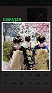 цветет сакура и стоят три девушки в национальной одежде