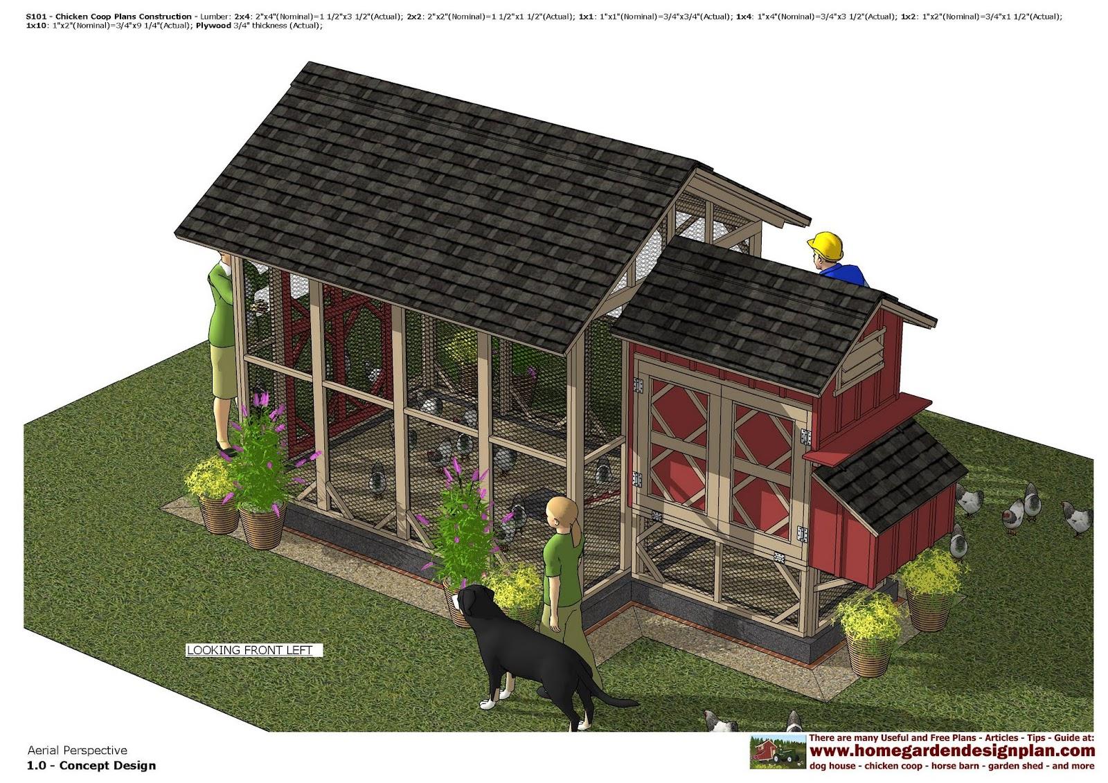 Home garden plans s101 chicken coop plans chicken for 3 chicken coop