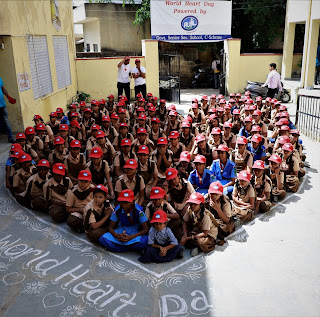 Celebrating Worlds Heart Day  with students an initiative of Rufil