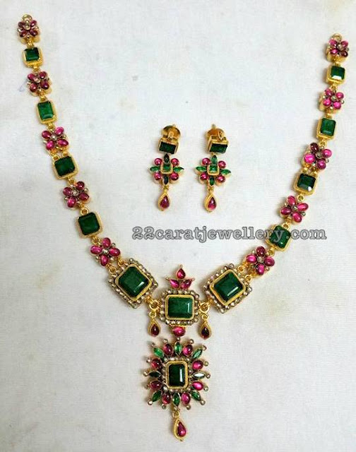 Attractive Gemstone and Navaratan Stones Floral Set