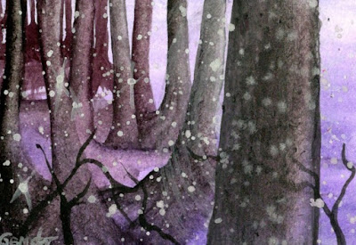 Purple Snow Space watercolor painting
