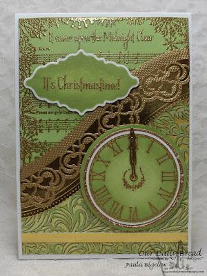 Our Daily Bread Designs, God's Timing, Midnight Clear Background, Circle Ornaments Dies, Matting Circles Dies, Ornate Borders and Flowers, Leafy Edged Borders Dies, Christmas Collection 2015 Paper, Designed by Paula Bigelow