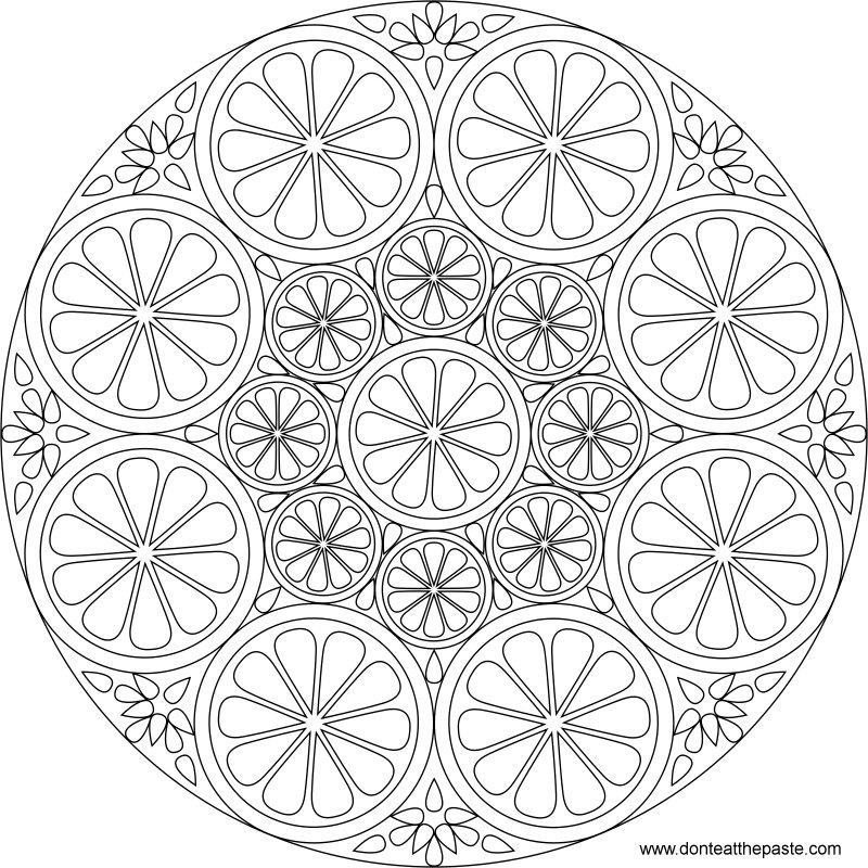 Citrus mandala to color- also available in transparent PNG #coloring #mandalas