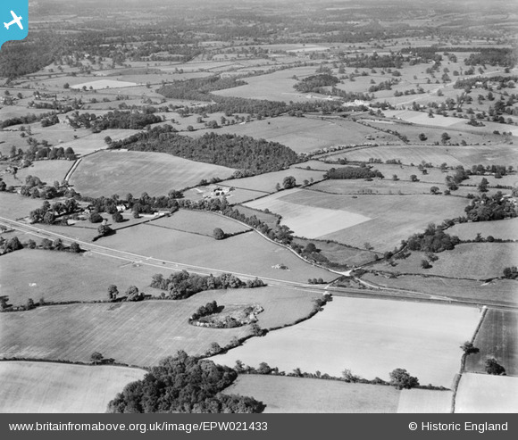 Photograph of Brick Kiln Wood and surrounding countryside, Welham Green, from the south-west, 1928
