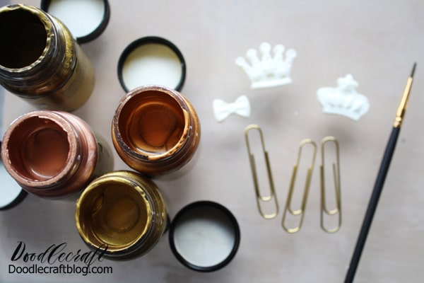 Next paint the resin shapes with the metallic paint. I used rose gold, antique gold, gold and copper.
