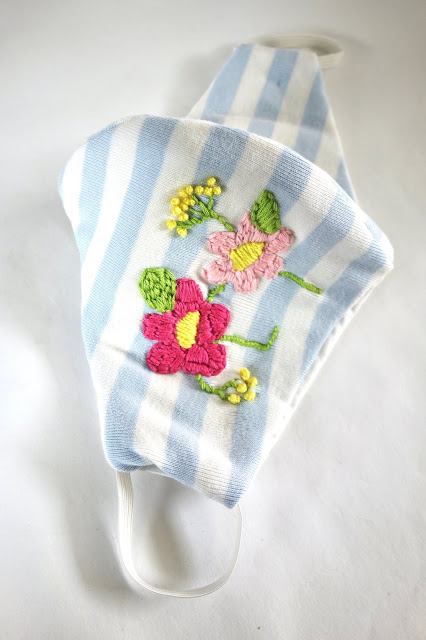 fabric face mask, blah to TADA, sewing crafts, sewing flowers on face mask,