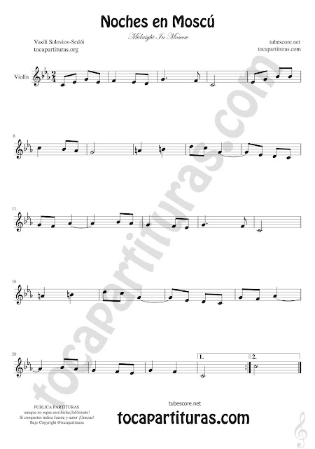 Violín Partitura de Noches en Moscú Sheet Music for Violin Midnight In Moscow