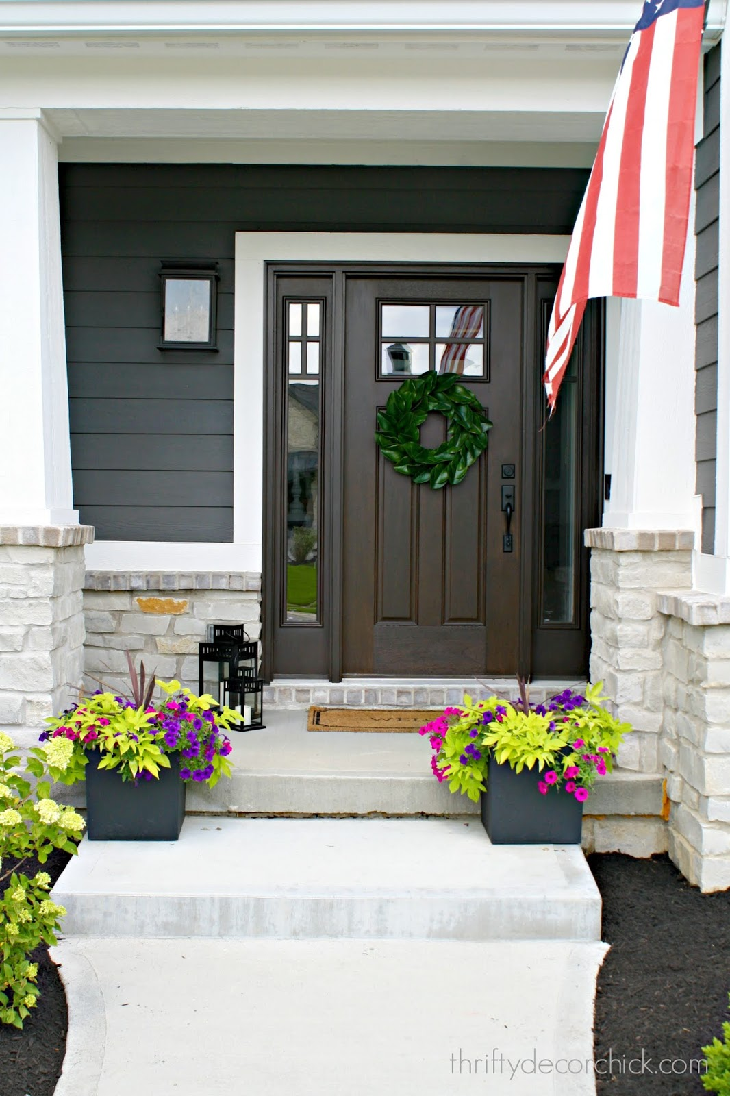Modern Craftsman front door with windows