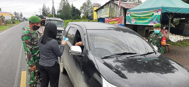Kompak Personel Gabungan Pengendalian PPKM Bersama Dinas Terkait Personel Jajaran Kodim 0207/Simalungun
