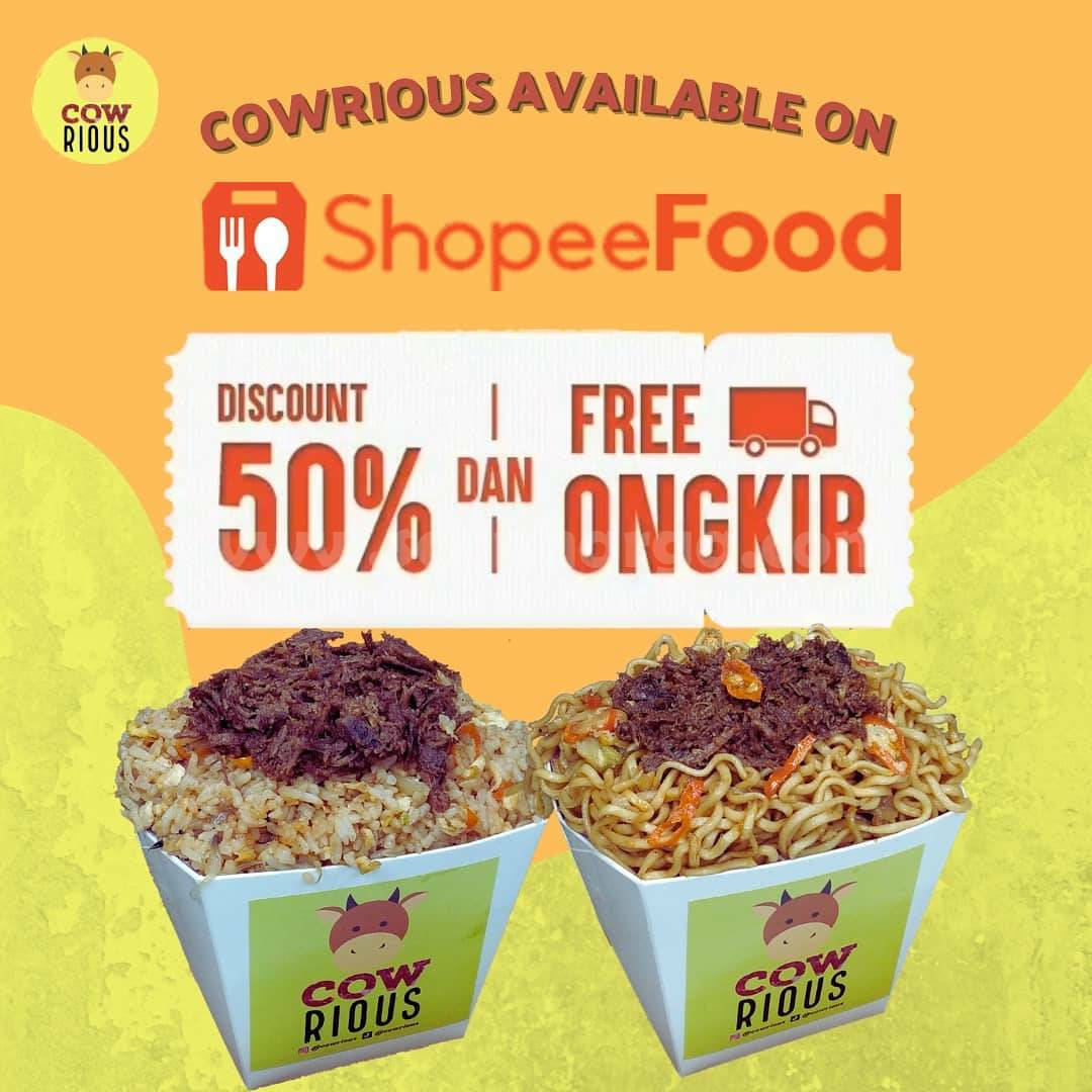 Promo COWRIOUS DISKON 50% + Gratis Ongkir Khusus pemesanan via ShopeeFood