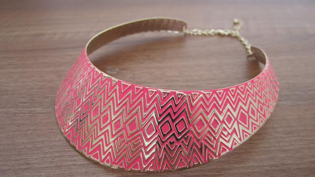 Primark Pink ZigZag Torque Necklace