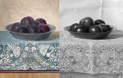vintage tea towel, plums, contrast
