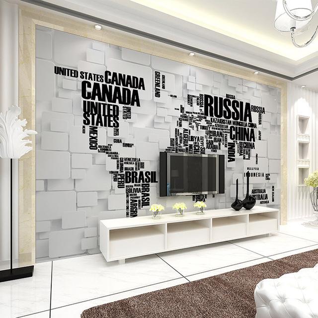 Tapet världskarta svart vit bokstäve namn länder fototapet