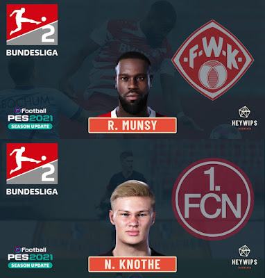 PES 2021 Faces Ridge Munsy & Noel Knothe by Heywips