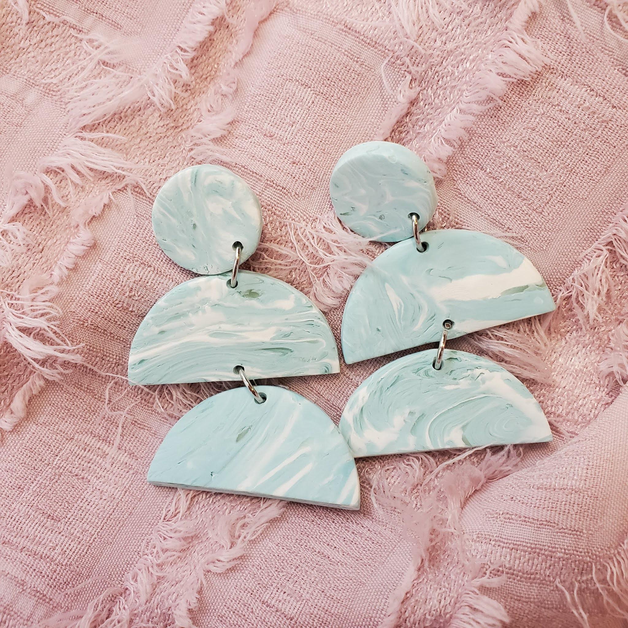 Polymer clay statement earrings - amelia drop earrings