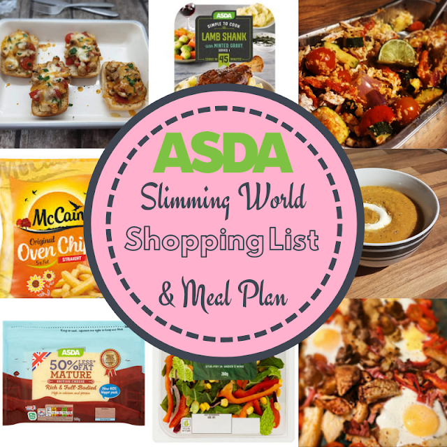 Slimming World meal plan 7 day with shopping list asda
