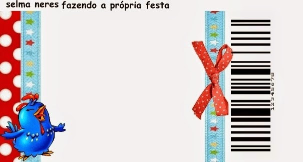 Tarjeta con forma de Ticket de Gallinita Pintadita en Rojo y Celeste.