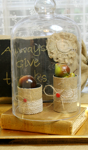 Tin cans wrapped with burlap, small Fall vignette