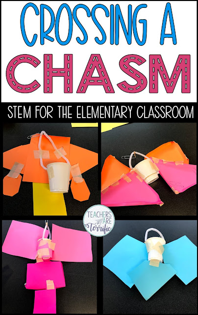 Crossing a Chasm STEM Challenge- students must rescue a team that is stranded. The team must send supplies across a chasm using the wind as a way to propel the container.