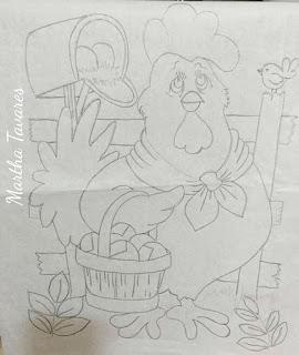 risco de galo com cesto de ovos para pintar