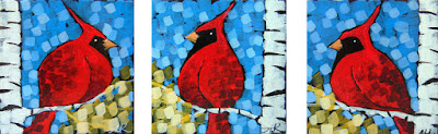 golden land cardinals triptych painting by artist aaron kloss, painting of cardinals, minnesota landscape painting, cardinals in the fall