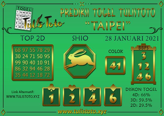 Prediksi Togel TAIPEI TULISTOTO 28 JANUARI 2021