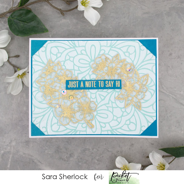 Picket Fence Studios, Coloring Book Stencil, Que Sera Sera, Paper Glaze, embossing paste, heat embossing