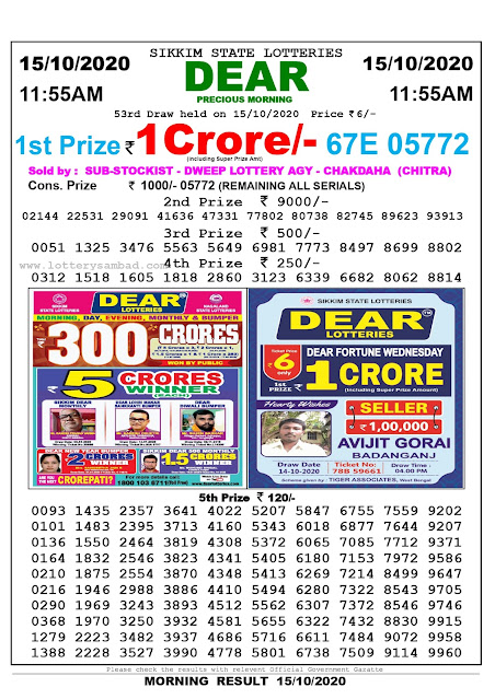Lottery Sambad 15-10-2020, Lottery Sambad 11.55 am results, Sikkim Lottery Results, Lottery Sambad Today Results Live, Morning results